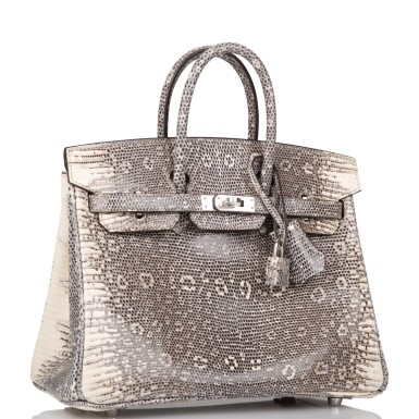 View 2. Thumbnail of Lot 2. Hermès Ombre Birkin 25cm of Varanus Salvator Lizard with Palladium Hardware.