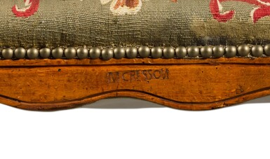View 5. Thumbnail of Lot 78. A Louis XV suite of carved beechwood seat furniture by Michel Cresson, mid-18th century.