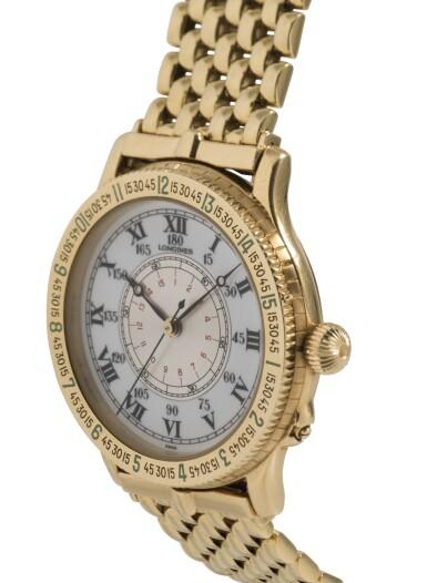 LONGINES   LINDBERGH HOUR ANGLE WATCH, REF 989.5216 YELLOW GOLD AVIATOR'S WRISTWATCH WITH BRACELET CIRCA 1987