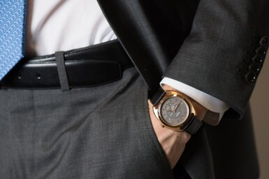 View 4. Thumbnail of Lot 98. HERMÈS | DRESSAGE, REF DR5.77C LIMITED EDITION PINK GOLD WRISTWATCH CIRCA 2012.