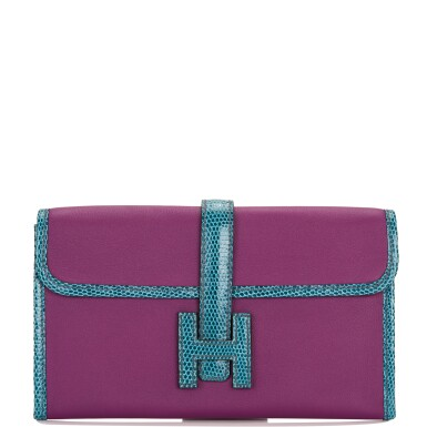 Hermès Anemone and Bleu Petrole Jige Duo Touch Wallet of Swift Leather and Varanus Niloticus Lizard