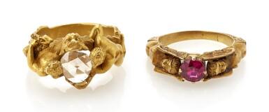 DIAMOND RING AND SYNTHETIC RUBY RING (ANELLO CON DIAMANTE E ANELLO CON RUBINO SINTETICO)