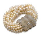 SUZANNE BELPERRON | CHALCEDONY, CULTURED PEARL AND DIAMOND BRACELET, CIRCA 1935