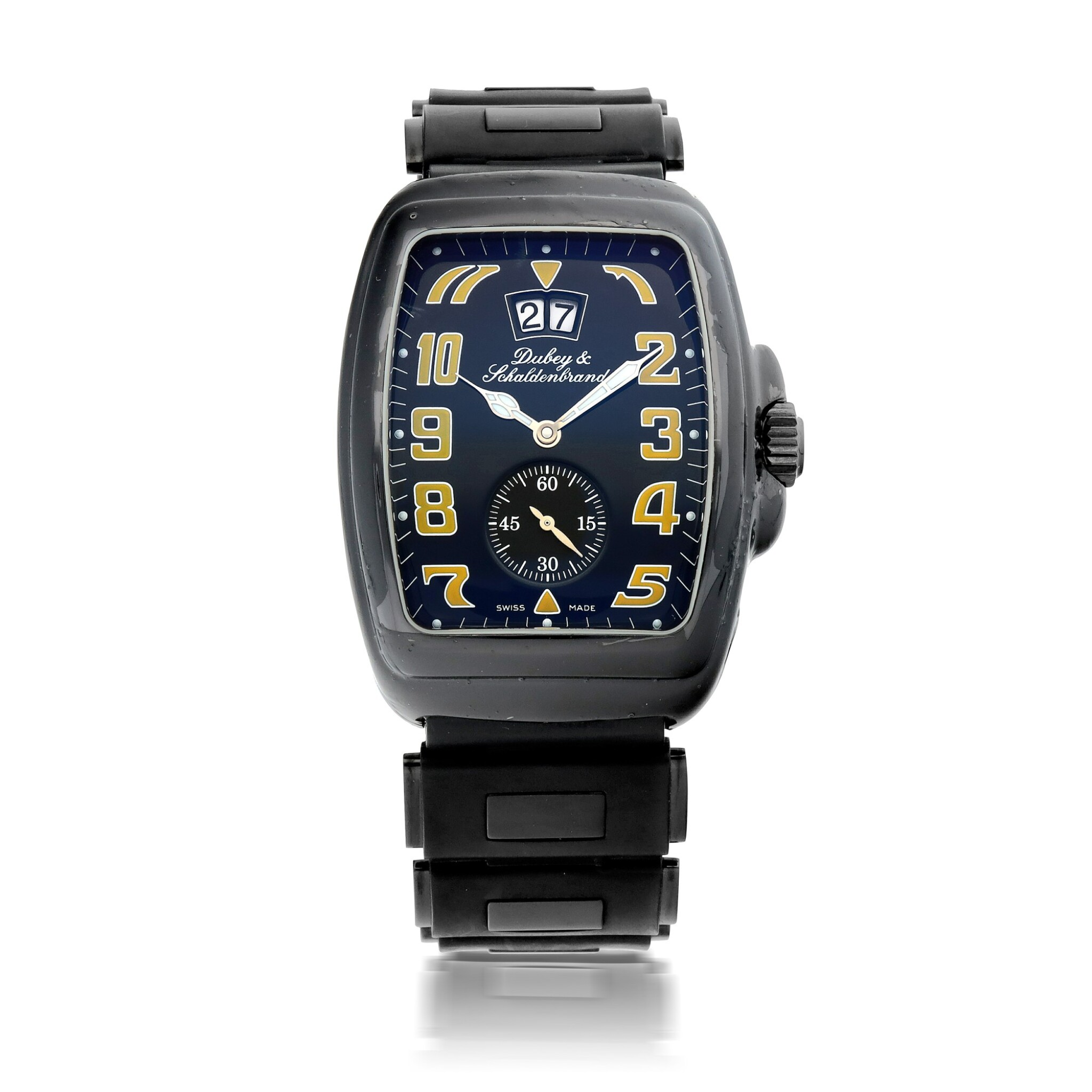 View full screen - View 1 of Lot 906. AQUADIN SIXTY LIMITED EDITION BLACKENED STAINLESS STEEL WRISTWATCH WITH DATE AND BRACELET CIRCA 2006.