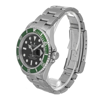 "View 3. Thumbnail of Lot 462. ROLEX | SUBMARINER ""KERMIT"" REF 16610, A STAINLESS STEEL AUTOMATIC CENTER SECONDS WRISTWATCH WITH BRACELET CIRCA 2008    ."