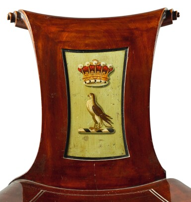 View 2. Thumbnail of Lot 1. A SET OF EIGHT IRISH GEORGE III MAHOGANY HALL CHAIRS, LATE 18TH CENTURY/EARLY 19TH CENTURY.