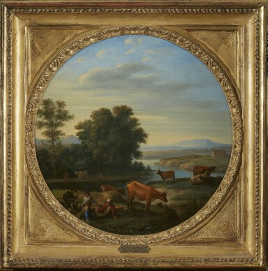 View 2. Thumbnail of Lot 248. HERMAN VAN SWANEVELT | ITALIAN RIVER LANDSCAPE WITH HERDERS AND THEIR CATTLE.