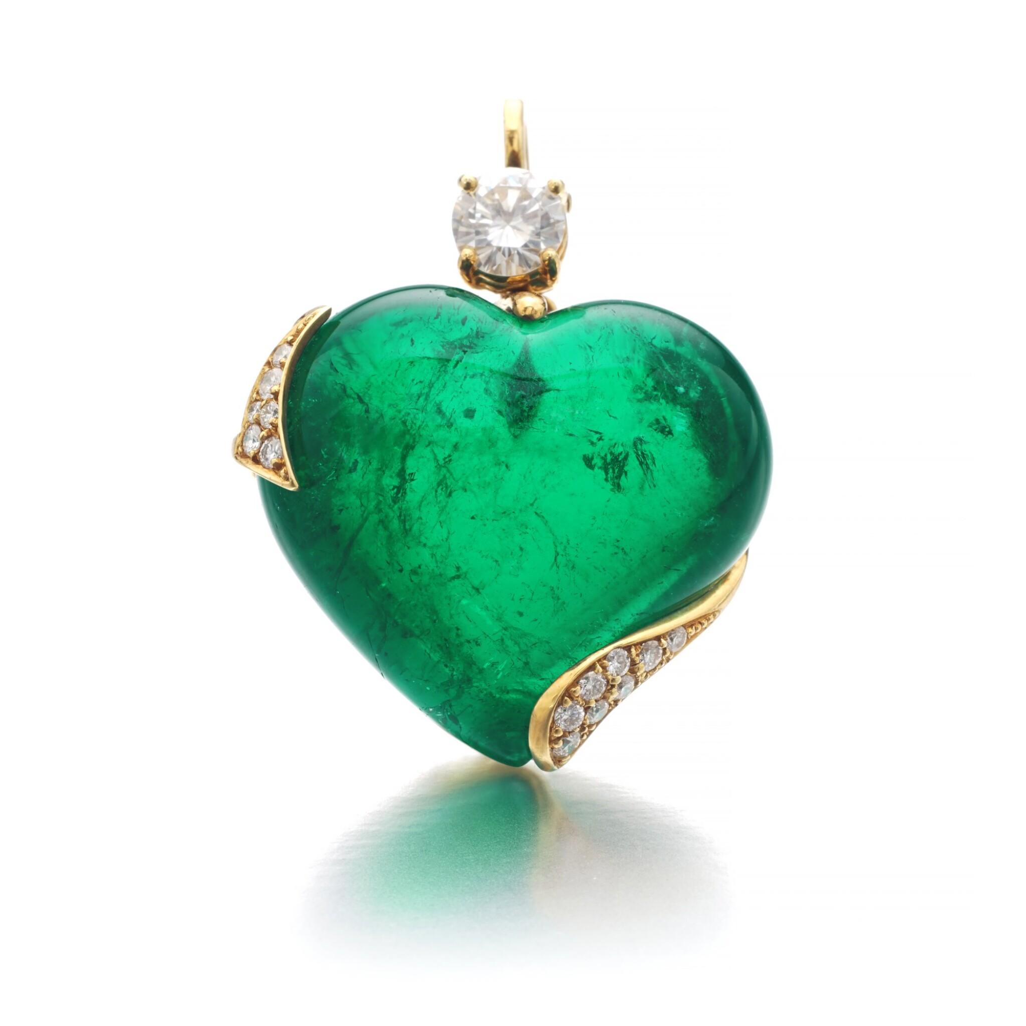 View full screen - View 1 of Lot 745. Harry Winston   Emerald and diamond pendant   海瑞溫斯頓   祖母綠配鑽石吊墜.