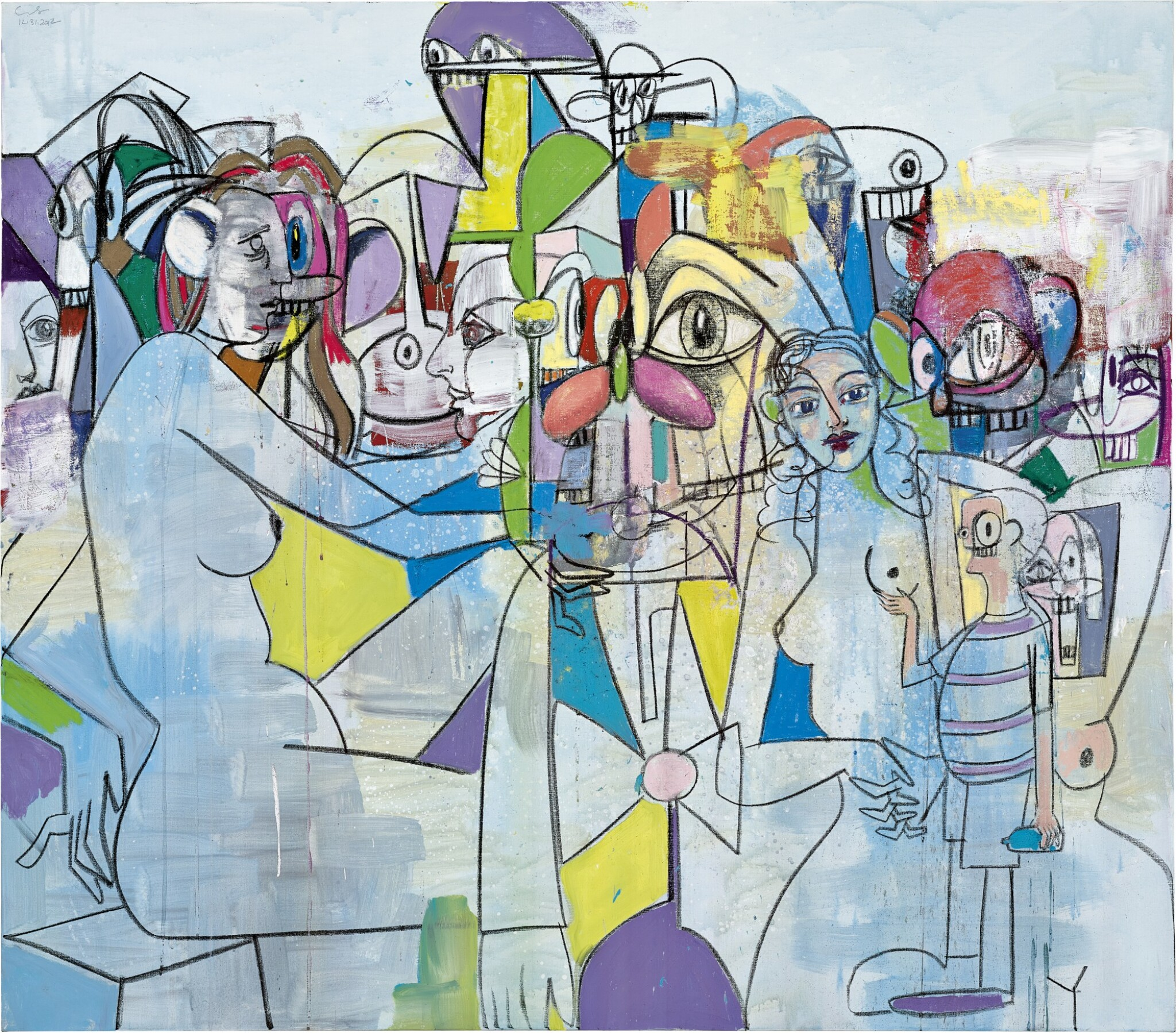 View full screen - View 1 of Lot 1130. GEORGE CONDO 喬治 · 康多 | PURPLE AND YELLOW ABSTRACTION 紫黃色抽象.