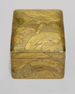 A FINE GOLD LACQUER TEBAKO [ACCESSORY BOX] DECORATED WITH OVERLAPPING FANS, SIGNED JOKASAI, MEIJI PERIOD, LATE 19TH CENTURY