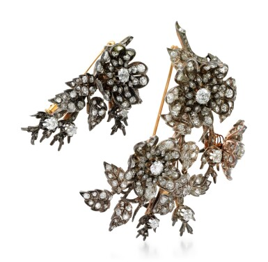 View 2. Thumbnail of Lot 212. TWO DIAMOND BROOCHES.