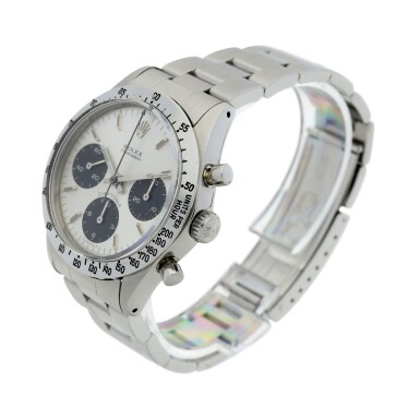 View 2. Thumbnail of Lot 5. ROLEX | REFERENCE 6262 DAYTONA  A STAINLESS STEEL CHRONOGRAPH WRISTWATCH WITH BRACELET, CIRCA 1971.