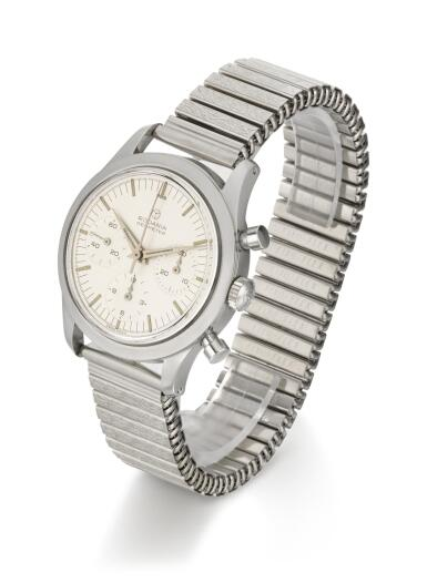 RODANIA |  GEOMETER, REFERENCE 5621 H STAINLESS STEEL CHRONOGRAPH WRISTWATCH WITH BRACELET,  CIRCA 1965