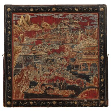 View 1. Thumbnail of Lot 91. Grand écran de lettré en laque polychrome et doré incrusté de nacre Dynastie Qing, époque Kangxi | 清康熙 描金彩繪嵌螺鈿山水樓閣圖雙面插屏 | A large lacquer-gilt and mother-of-pearl inlaid figural screen panel, Qing Dynasty, Kangxi period.