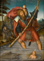LUCAS CRANACH THE ELDER AND WORKSHOP | SAINT CHRISTOPHER WITH THE CHRIST CHILD CROSSING A STREAM