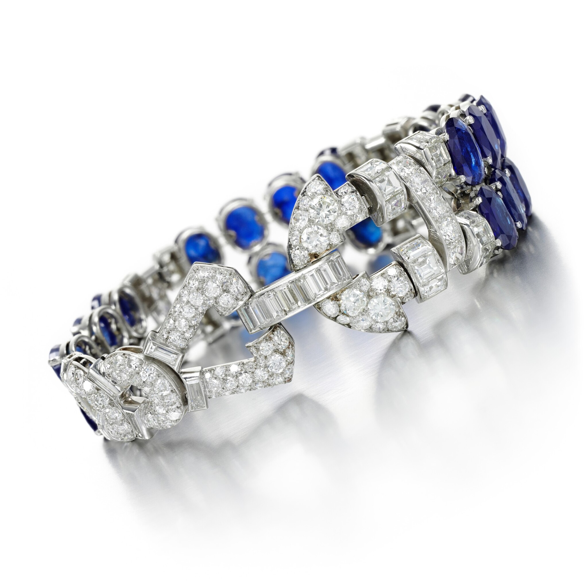 View full screen - View 1 of Lot 42. CARTIER | SAPPHIRE AND DIAMOND BRACELET.