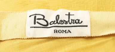 View 5. Thumbnail of Lot 10. Balestra, 1972, Sunbathing dress with pleated collar and matching cape | Robe longue bain de soleil à collerette plissée en mousseline avec cape assortie.