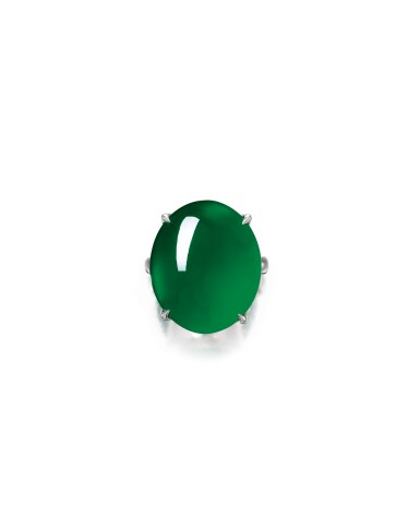 View full screen - View 1 of Lot 1682. Imperial Green Jadeite Ring | 天然「帝王綠」翡翠戒指.
