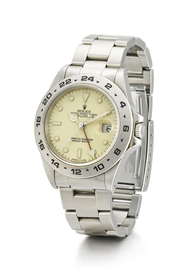 View 2. Thumbnail of Lot 2. ROLEX   EXPLORER II, REFERENCE 16550, A STAINLESS STEEL WRISTWATCH WITH 24 HOUR INDICATION, DATE, CREAM RAIL DIAL AND BRACELET, CIRCA 1987.