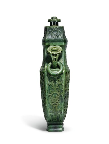 View 3. Thumbnail of Lot 222. A large spinach jade vase and cover, Qing Dynasty, Qianlong period   清乾隆 碧玉番蓮八吉祥紋活環耳蓋瓶.