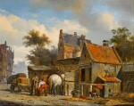 A Street Scene with a Blacksmith at Work