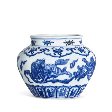 View 2. Thumbnail of Lot 3635. An exceptional blue and white 'lion and ball' jar Mark and period of Xuande | 明宣德 青花獅子戲球罐 《大明宣德年製》款.