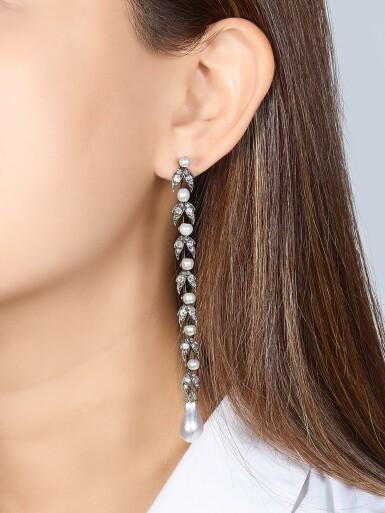 View 1. Thumbnail of Lot 9015. Natural Pearl and Diamond Earrings, 19th Century |  天然海水珍珠 配 鑽石 耳墜一對, 19世紀.