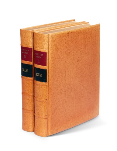 View 4. Thumbnail of Lot 101. Schmied and Kipling. Kim. 1930. 2 volumes. 4to. modern tan morocco.
