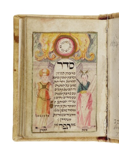 View 2. Thumbnail of Lot 178. A RICHLY ILLUSTRATED MINIATURE BOOK OF PRAYERS, SEDER BIRKAT HA-MAZON U-BIRKHOT HA-NEHENIN (GRACE AFTER MEALS AND OCCASIONAL BLESSINGS), WRITTEN AND ILLUSTRATED BY NATHAN BEN SAMSON OF MESERITCH (MORAVIA), 1728.