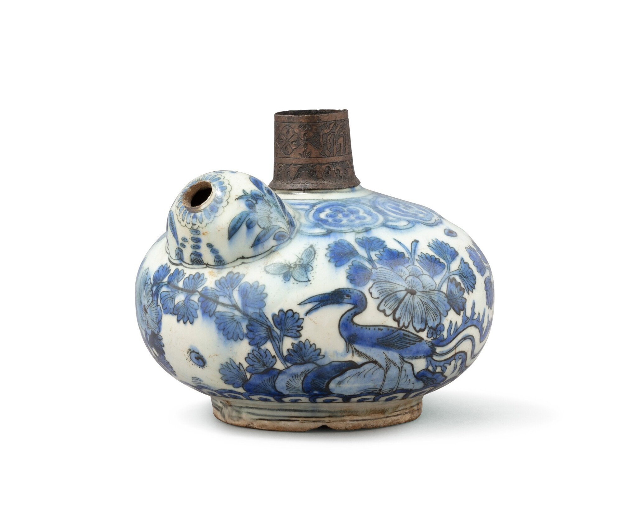 View full screen - View 1 of Lot 280. A blue and white Kendi hookah base, Persia, Safavid, 17th century.