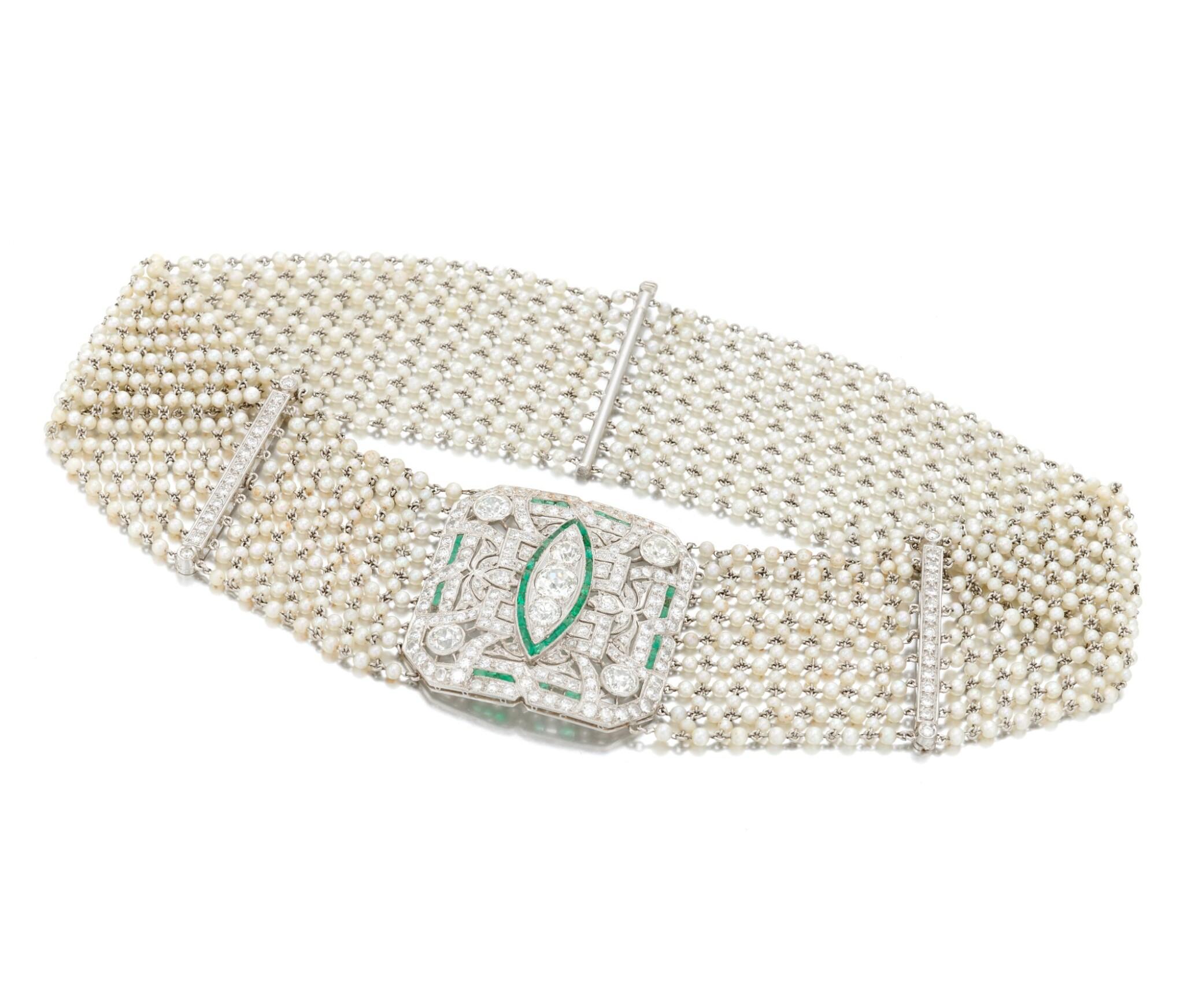 View 1 of Lot 145. Seed pearl, diamond and emerald collier de chien (Collana in microperle, diamanti e smeraldi).