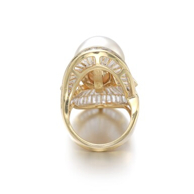 View 3. Thumbnail of Lot 1206. Cultured pearl and diamond ring.