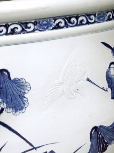 View 3. Thumbnail of Lot 78. A large blue and white 'lotus pond' jardinière, Qing dynasty, 18th century | 清十八世紀 青花浮雕路路連科圖大缸.