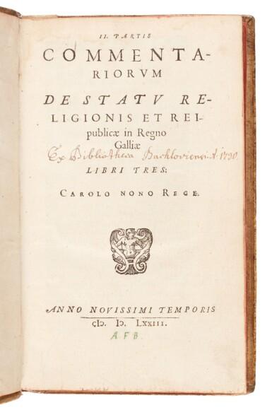 View 2. Thumbnail of Lot 232. Serres, II. Partis commentariorum de statu religionis, [Geneva], 1573, pigskin binding by Thomas Krüger.