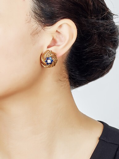 View 5. Thumbnail of Lot 9142. PAIR OF GEM SET AND DIAMOND EARCLIPS, CARTIER | 寶石 配 鑽石 耳環一對, 卡地亞(Cartier).