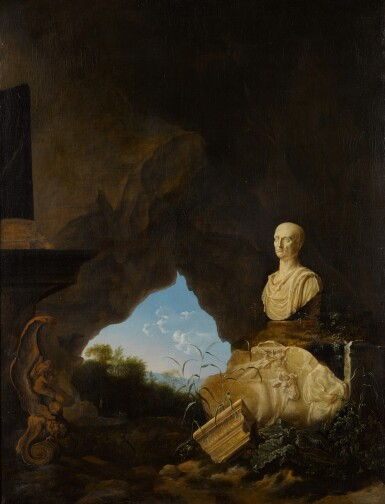 PETRUS VAN HATTICH   A grotto with an antique bust, relief fragments, and other objects, with an Italianate landscape beyond