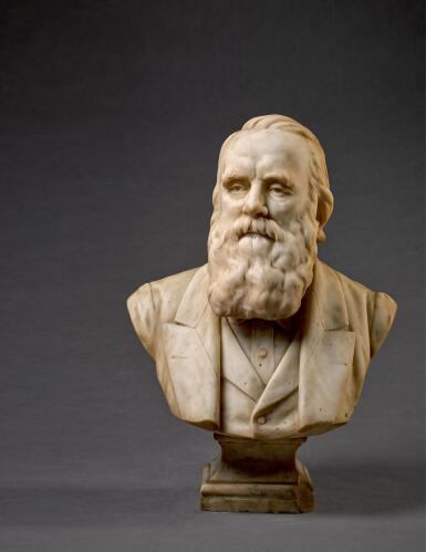 SIR JOSEPH EDGAR BOEHM R.A. | BUST OF A MAN, POSSIBLY CHARLES DARWIN (1809-1882)