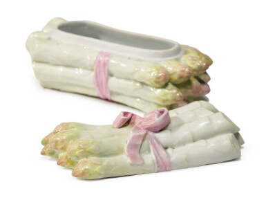 View 3. Thumbnail of Lot 79. A Meissen Asparagus Box and Cover, 19th Century, the Decoration Later.
