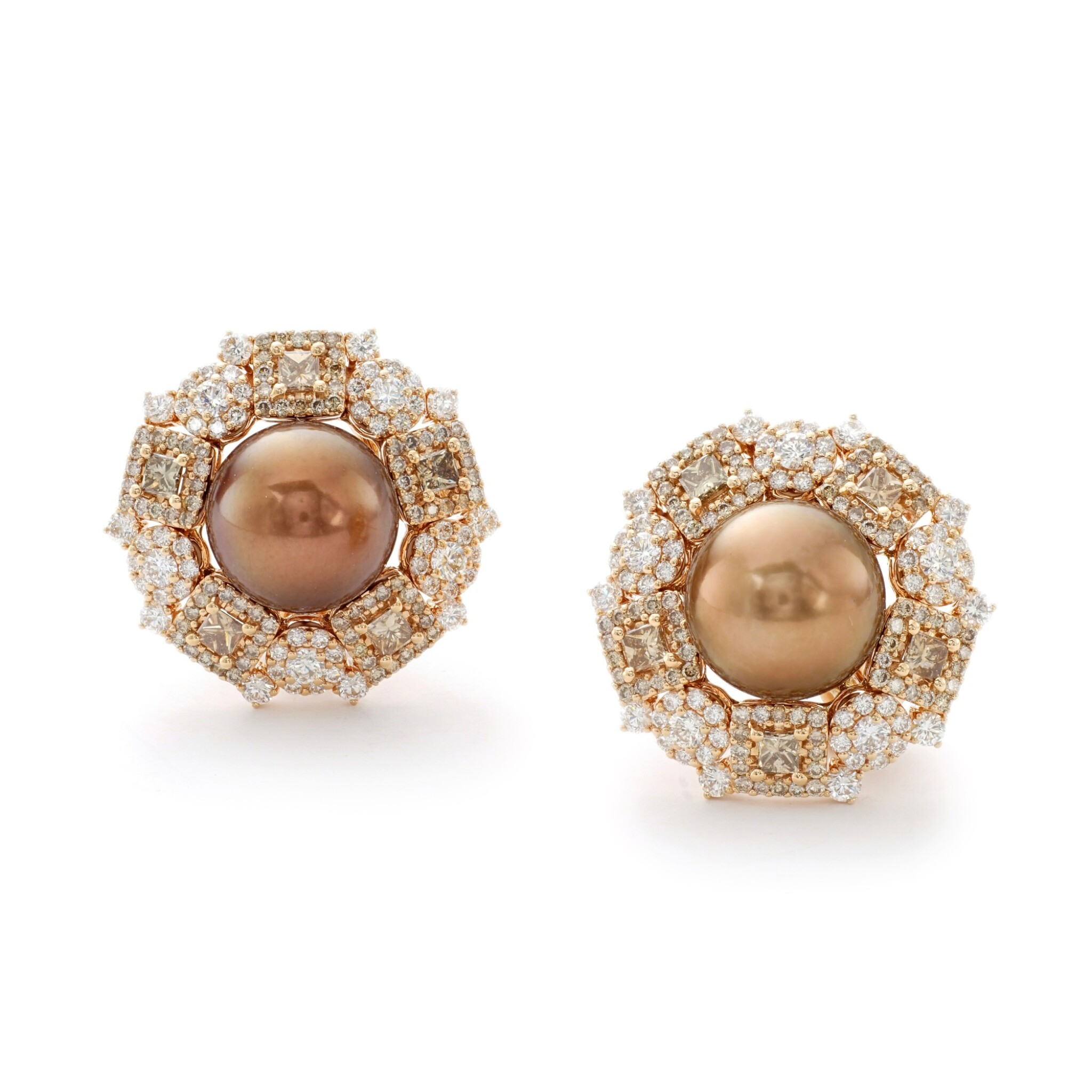 View full screen - View 1 of Lot 4. MICHELE DELLA VALLE   PAIR OF CULTURED PEARL AND DIAMOND EARRINGS.