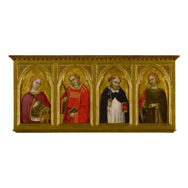 View 1. Thumbnail of Lot 115. TADDEO DI BARTOLO | SAINTS CATHERINE OF ALEXANDRIA, LAWRENCE, DOMINIC, AND JULIAN.