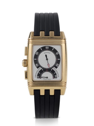 JAEGER-LECOULTRE | GRAN' SPORT REVERSO, REF 295.1.59 YELLOW GOLD REVERSIBLE CHRONOGRAPH WRISTWATCH WITH DATE CIRCA 2004