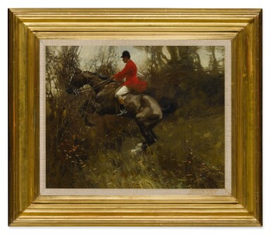 View 2. Thumbnail of Lot 57. SIR ALFRED JAMES MUNNINGS, P.R.A., R.W.S. | A HUNTSMAN TAKING A DITCH.