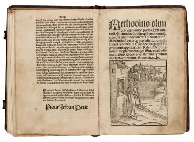 View 2. Thumbnail of Lot 127. Geoffrey of Monmouth, Methodius, Tiraqueau, Grapaldus, Paris, 1507-1517, English stamped calf.