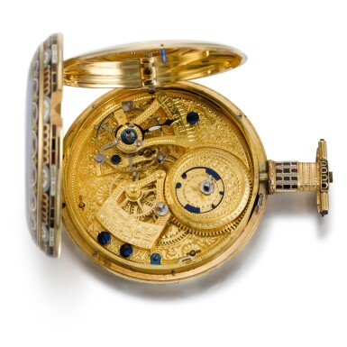View 6. Thumbnail of Lot 293. EDOUARD JUVET, FLEURIER | A MATCHED PAIR OF FINE GOLD AND ENAMEL OPEN-FACED WATCHES MADE FOR THE CHINESE MARKET, CIRCA 1865, NO. 41981 AND 42308.