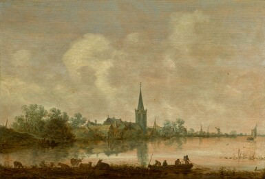 View 1. Thumbnail of Lot 132. JAN JOSEFSZ. VAN GOYEN | RIVER LANDSCAPE WITH A VILLAGE AT THE WATER'S EDGE, CATTLE AND FIGURES IN THE FOREGROUND .