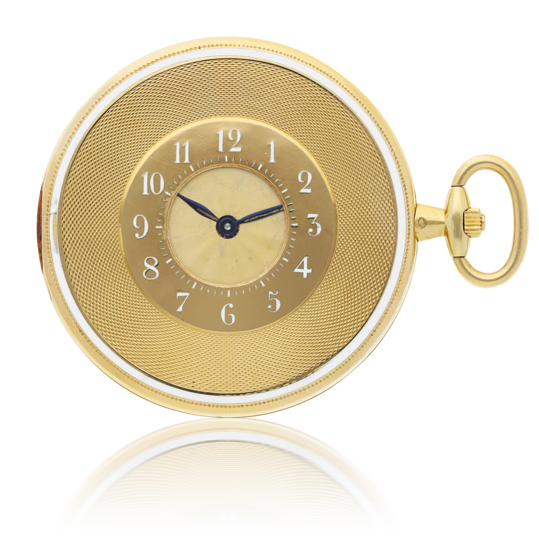 View full screen - View 1 of Lot 34. CARTIER |  A YELLOW GOLD AND ENAMEL DEMI-HUNTING CASED WATCH, CIRCA 1920.