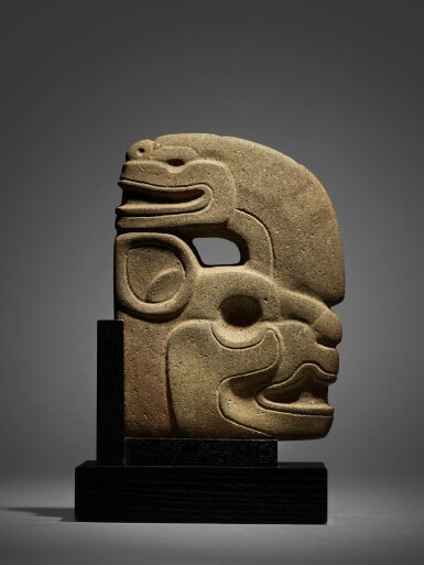 View 1. Thumbnail of Lot 97. Maya Stone Effigy Hacha Late Classic, circa AD 550 - 950.