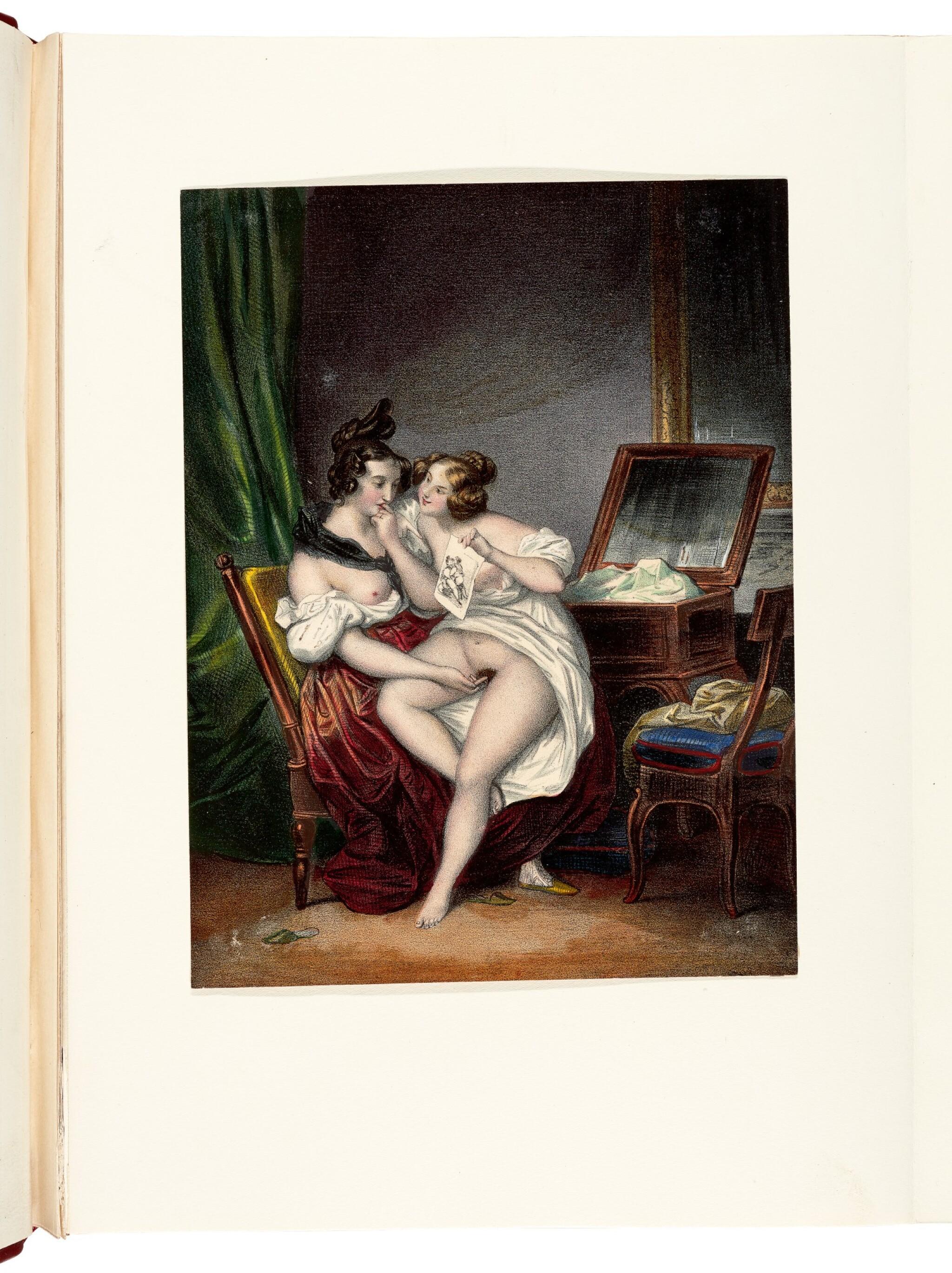 View 1 of Lot 155. Romantisme secret, an album of erotic prints, [Paris, 1840s-1850s], half red morocco.