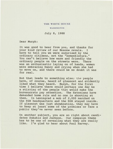 View 1. Thumbnail of Lot 99. Ronald Reagan | Series of 37 letters to Senator George Murphy, and related material, 1968-90.