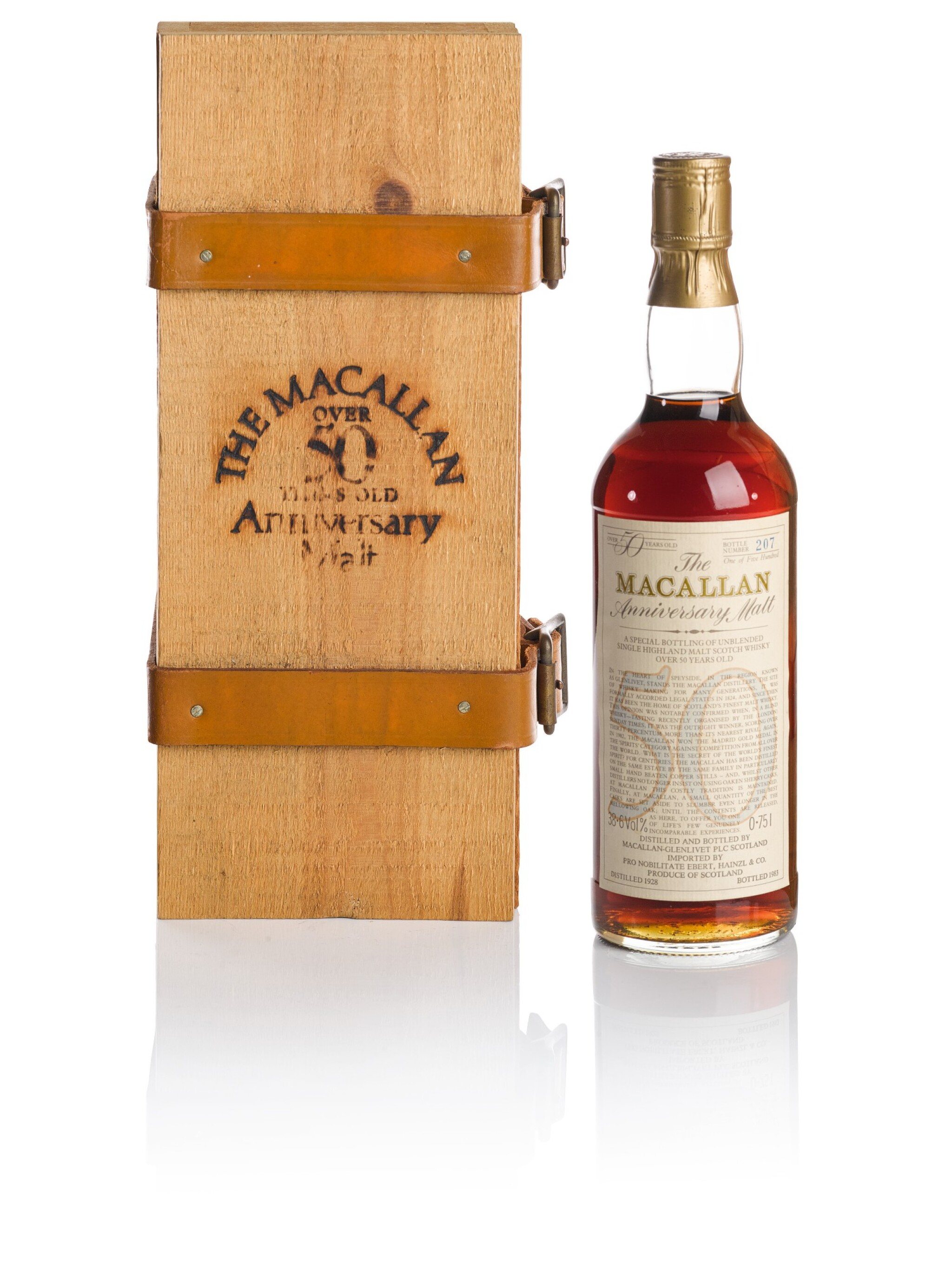 View 1 of Lot 176.  THE MACALLAN 50 YEAR OLD ANNIVERSARY MALT 38.6 ABV 1928.